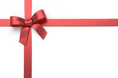 Silk bow. Red silk ribbon with bow stock photography