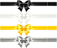 Silk bows black and gold with ribbons. Vector illustration - collection of silk bows with ribbons. EPS 10, RGB. Created with gradient mesh Royalty Free Stock Photography
