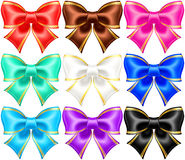 Silk bows with golden edging. Vector illustration - silk bows with golden edging. EPS 10, RGB. Created with gradient mesh Stock Photo