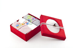 Silk box of handkerchief. Stock Photos