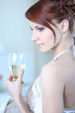 Silk and champagne Stock Images