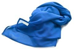 Silk-chiffon Scarf. Blue Silk-chiffon Scarf isolated on white background Royalty Free Stock Photography