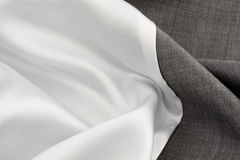 Silk cloth and grey cloth Stock Photos