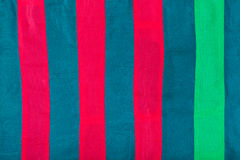 Silk cloth with red, blue, green stripes Stock Image