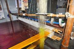 Silk cloth weaving Stock Photos