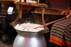Free Silk Cocoons Boiling In Large Pot Royalty Free Stock Photography - 113969157