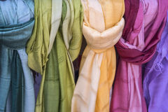 Silk and cotton scarves Stock Images