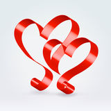 Silk couple hearts Royalty Free Stock Photos