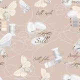 Silk cultivation brown seamless vector pattern Stock Photos
