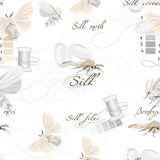 Silk cultivation white seamless vector pattern Stock Photo