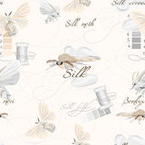 Silk cultivation white seamless vector pattern Royalty Free Stock Photography