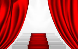 Silk curtain and the stairs to the podium Stock Images