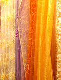 Silk curtains. Different color and shape silk curtains, Italy royalty free stock photography