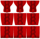 Silk curtains with columns closed and open Stock Photos