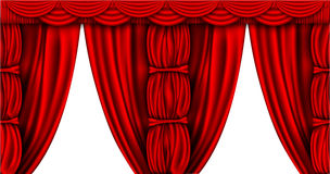 Silk curtains with columns closed and open Royalty Free Stock Photo