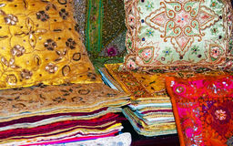 Silk cushions. A collection of ornate silk cushions and covers Stock Images