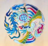 Silk dragon flowers on decorative background. Chinese Silk dragon. flowers on decorative background Chinese traditional art celebrates stock image
