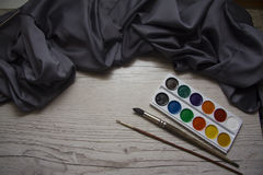 Silk drapery with watercolor Stock Photo