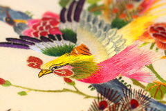 Silk embroidered art D Stock Image