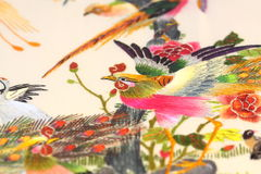 Silk embroidered art A Royalty Free Stock Images