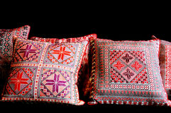 Silk Embroidery artwork in pillow Royalty Free Stock Images