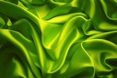 Silk Fabric Background, Green Cloth Waves Texture Stock Photo