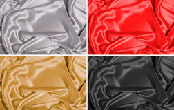 Silk Fabric Backgrounds. 4 high resolution silk fabric backgrounds - silver, gold, red and black stock photography