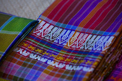 Silk fabric close-up of beautiful texture and multi-colors. Silk farm , Thailand Royalty Free Stock Images