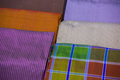 Silk fabric close-up of beautiful texture and multi-colors,Thail. And Royalty Free Stock Photography