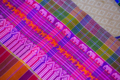 Silk fabric close-up of beautiful texture and multi-colors,Thail. And Royalty Free Stock Photo