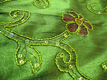 Silk Fabric with ethnic work. Royalty Free Stock Images