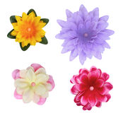 Silk Fabric Flower Buttons. Isolated on white background Stock Photo