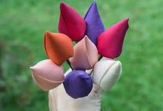 Silk fabric flowers Stock Photos