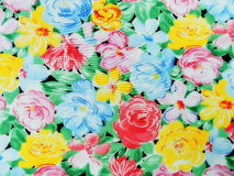 Silk fabric with painted flowers Royalty Free Stock Images