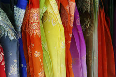Silk fabrics Stock Photo