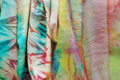 Silk fabrics. Batik hand painted silk scarf Royalty Free Stock Image