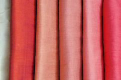 Silk fabrics. Beautiful color handmade Thai silk Royalty Free Stock Photography