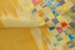 Silk fabrics. Beautiful Hand painting silk in Thailand Stock Photos