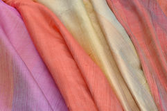 Silk fabrics. Beautiful handmade silk in Thailand Royalty Free Stock Image
