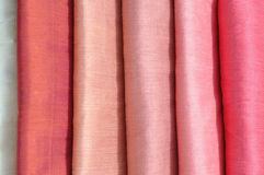 Silk fabrics. In the markets Stock Photo