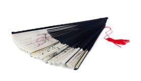 Silk fan. Half open asian silk fan isolated on white stock image