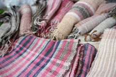 Silk fibers. For weaving arranged in a beautiful wooden floor stock image
