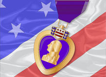 Silk Flag and Purple Heart. The 'Stars and Stripes' flag with a purple heart medal overlayed Royalty Free Stock Photo