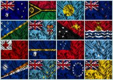 Silk Flags of Oceania Royalty Free Stock Images