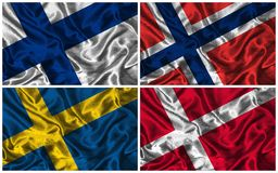 Silk Flags of  Scandinavia. Waving colourful flags of Scandinavian countries on a silk background Stock Images