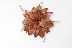 Silk flower. One brown silk flower on a white background Royalty Free Stock Photography