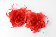 Silk flower. Tow red silk flower on a white background Stock Photo