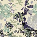 Silk flowers and birds seamless pattern Stock Photos