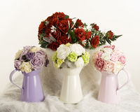Silk flowers display Royalty Free Stock Images