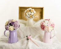 Silk flowers display Stock Photography